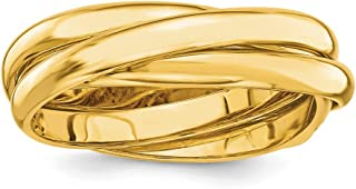 14k Yellow Gold Rolling Band Ring Wedding Fancy Fine Jewelry Gifts For Women For Her