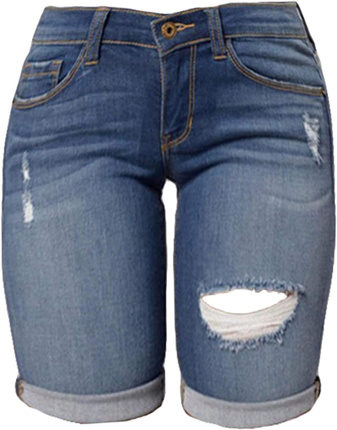 Womens Distressed Denim Capri Shorts Mid Waisted Ripped Destroyed Bermuda Jeans Plus Size Shorts