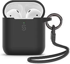 Syncwire Custodia AirPods Cover Protective - Case in Silicone Compatiblile con Apple AirPods 1 & 2 [Supporta la Ricarica Wireless] [LED Anteriore visibile] con Portachiavi e Straps, Nero