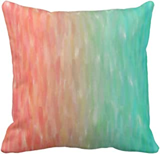Emvency Throw Pillow Cover Blue Peach Coral Turquoise Watercolor Teal Orange Pink Aqua Decorative Pillow Case Home Decor Square 18 x 18 Inch Pillowcase
