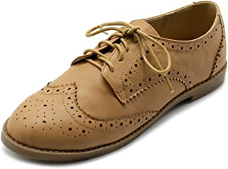 Ollio Womens Flats Shoes Wingtip Lace Up Oxfords
