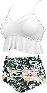 JiaMeng Traje de baño de Baño Verano Sexy Push Up Ropa De Playa Bikini de Seda con Estampado étnico Bikini Atractivo Traje de baño de una Pieza Traje de Playa