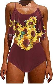 Women Two Piece Swimsuit High Waist, Ladies Sunflower Printed Push-Up Padded Tankini Swimwear