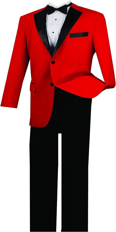 VINCI Men's 2 Button Single Breasted Classic Fit Tuxedo with Black Lapel T-2FF