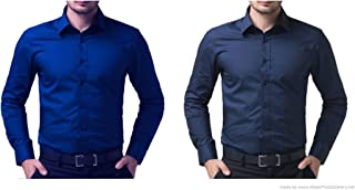 ZAKOD Combo of Plain Men's Cotton Shirts for Formal Wear,Slim Fit Shirts,Routine Wear Shirts,Available Sizes M=38,L=40,XL=42(Pack of 2)