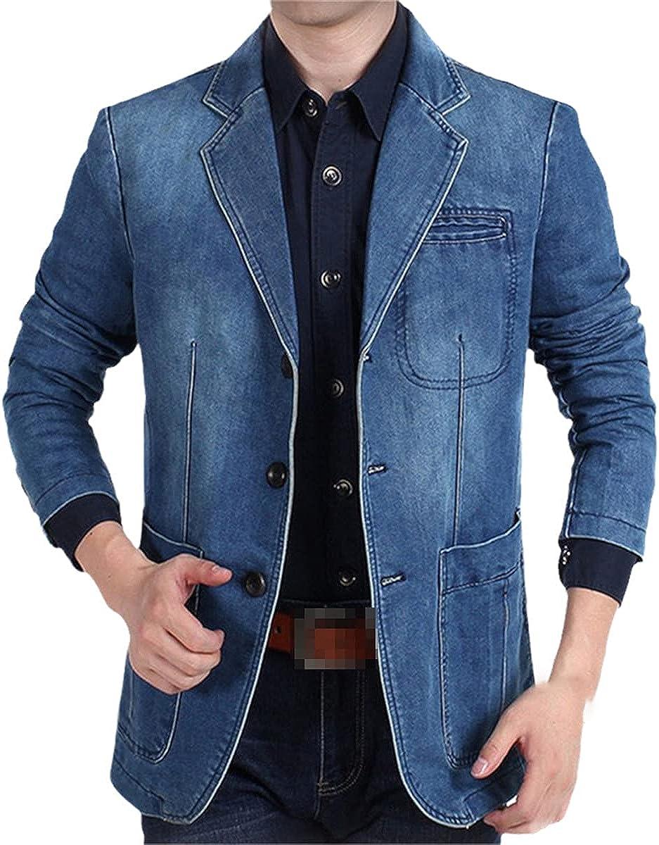 DFLYHLH Casual Men's Suit Jacket Slim Men's Jacket Clothing Plus Size Autumn and Winter Jeans Suit Jacket