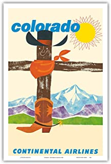 Pacifica Island Art Colorado - Continental Airlines - Cowboy Hat Bandana Boots - Vintage Airline Travel Poster c.1960 - Master Art Print - 12in x 18in