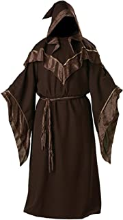 Halloween Medieval Monk Robe Dark Mystic Sorcerer Religious Godfather Wizard Hooded Costume Cape Cloak