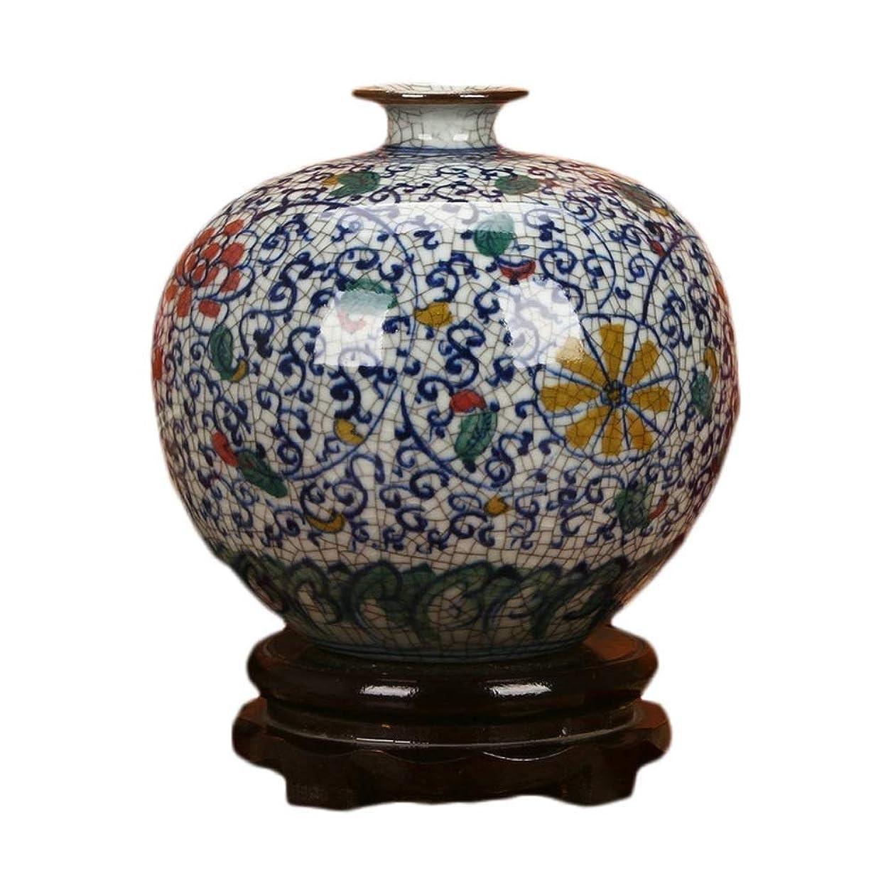 均等に認める無秩序古典的な花瓶、手描きの多色ひびが入った釉薬青と白の磁器の花ザクロ花瓶中国の装飾品