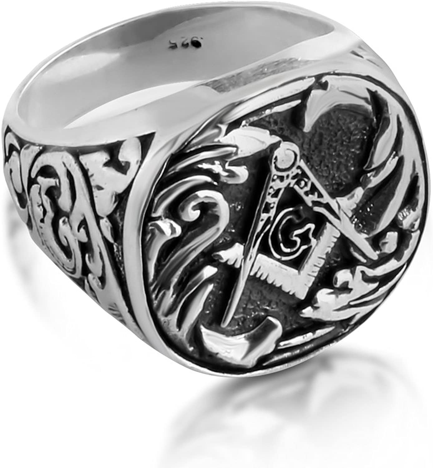 Azaggi Sterling Silver Handcrafted Fathers Day Gift Square and Compass Freemason Mens Ring