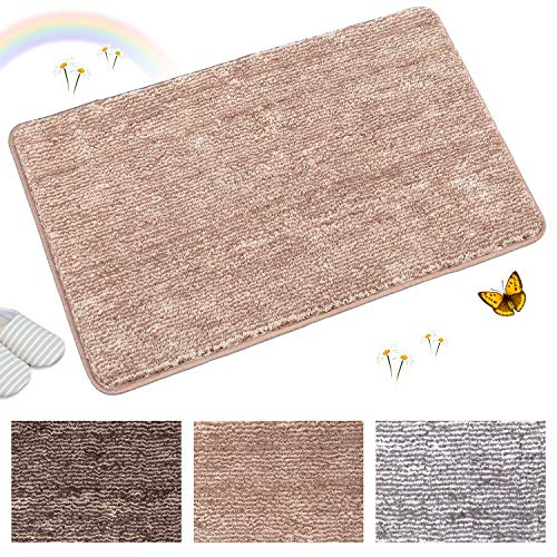 "Indoor Doormat Front Door Mat Non Slip Rubber Backing Super Absorbent Mud and Snow Magic Inside Dirts Trapper Mats Entrance Door Rug Shoes Scraper Machine Washable Rug Carpet - 24"" x 36"" (Grey)"
