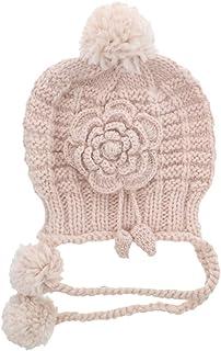 Motique Accessories Woman Girls Knitted Beanie Flower Pom Pom Hat