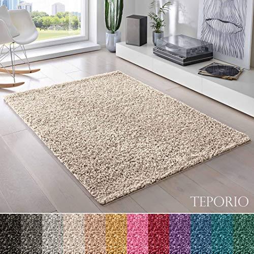 Teporio Shaggy-Teppich | Flauschiger Hochflor fürs Wohnzimmer, Schlafzimmer oder Kinderzimmer | einfarbig, schadstoffgeprüft, allergikergeeignet (Creme - 250 x 250 cm)