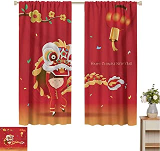 Mozenou Chinese New Year, Decorative Curtains for Living Room, Little Boy Performing Lion Dance with The Costume Flowering Branch Lantern, Waterproof Window Curtain Multicolor