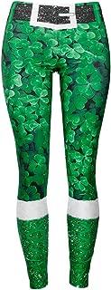 BESTOYARD Patrick's Day Shamrock Leggings Women Skinny Pants for Yoga Running Pilates Gym (Size L)