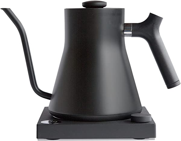 Fellow Stagg EKG Electric Pour Over Kettle For Coffee And Tea Matte Black Variable Temperature Control 1200 Watt Quick Heating Built In Brew Stopwatch
