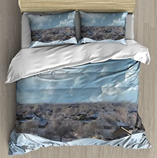 Winter painted landscape The photo has an oil painting effect Duvet Cover Set With Zipper Closure Pillowcase Retro Bedding...