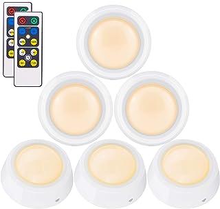 BIGLIGHT Closet Lights Battery Operated, Push Button Light, Tap Lights, Press Light, LED Puck Light, Remote Controlled, Di...