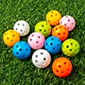 THIODOON Practice Golf Balls Limited Flight Golf Balls 40mm Hollow Plastic Golf Training Balls Colored Airflow Golf Balls for Swing Practice Driving Range Home Use Indoor 12 Pack (Mixed Color,12 pcs)