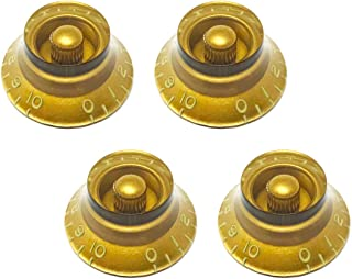 Vintage Forge Aged Relic Tinted Gold Top Hat Bell Knobs for Gibson Les Paul Electric Guitar (Set of 4) Fits 24 Fine-Spline USA (Imperial) Split Shaft Pots BK52US-GLD4