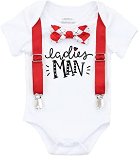 Noah's Boytique Baby Toddler Boy Valentines Day Outfit Ladies Man with Bow Tie