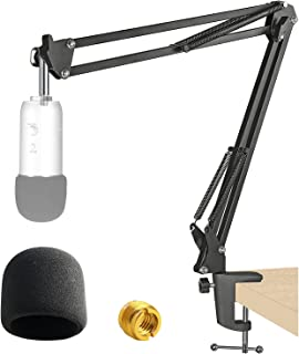 Adjustable Mic Shock Mount Suspension Boom Scissor Arm Stand and Mic Windscreen Pop Filter for Blue Yeti by YOUSHARES