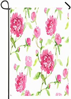 Ahawoso Outdoor Garden Flag 12x18 Inches Pion Green Floral Watercolor Pink Peonies Pattern Summer Nature Peony Flower Leaf Meadow Vintage Seasonal Home Decorative House Yard Sign