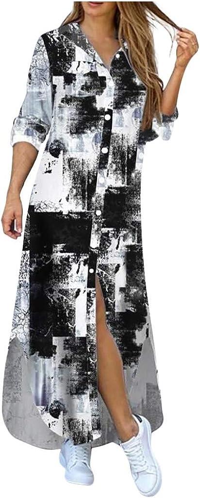 Womens Long Quality inspection Sleeve Blouse Dress Denim Max 51% OFF Print Maxi Home Shirt Dres
