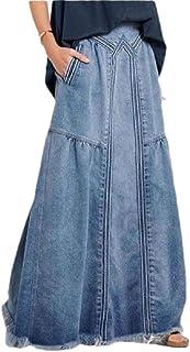 GAGA Women's Fashion Long High Waist Pocket Front Denim Maxi Skirt