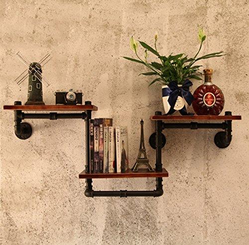 LHFJ - Estantería de pared de estilo industrial, estantería de hierro rústico tipo tubo flotante, estante de almacenamiento de pared para estudio, libros, CD, marcos de fotos, decoración del hogar (1152045 cm)