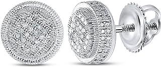FB جواهر الفضة الاسترليني للرجال جولة الماس قرص أقراط دائرة 1/10 Cttw