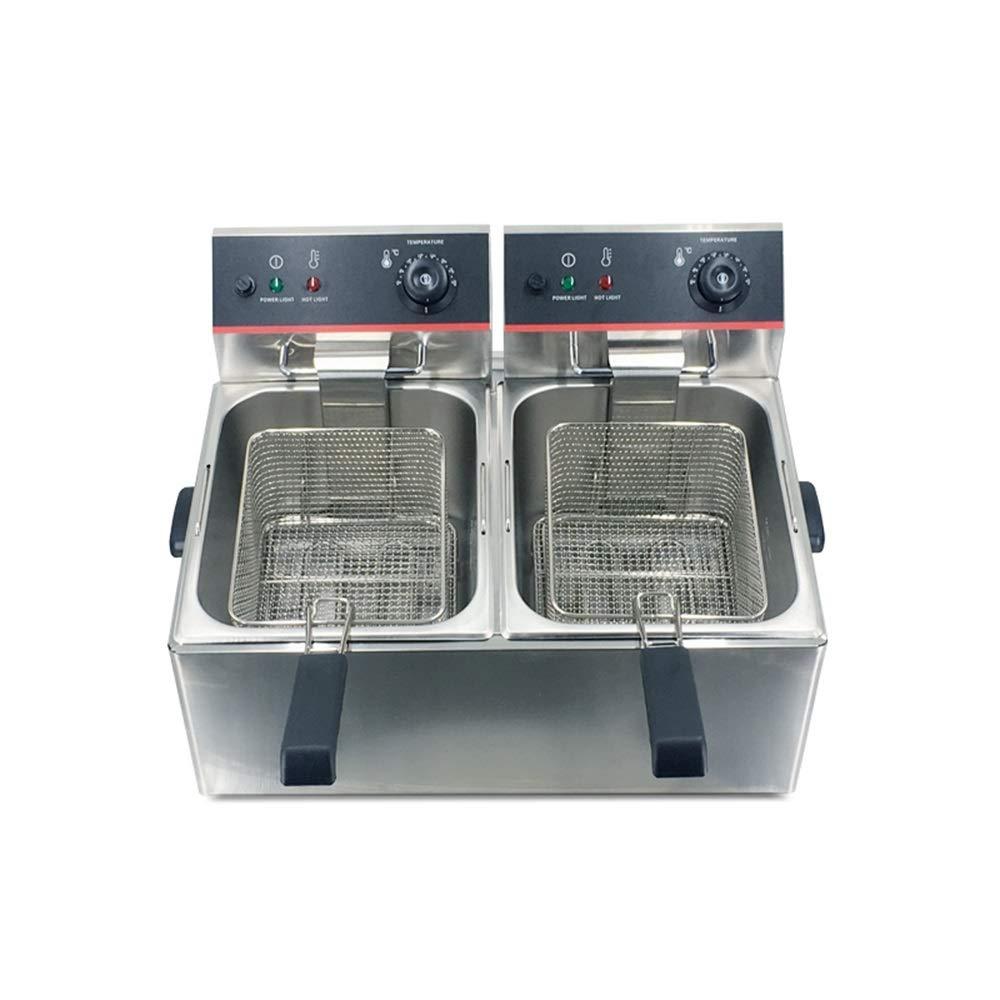LBSX Acero Inoxidable Profundo Grasa freidora eléctrica Comercial Catering Robot de Cocina con la Cesta y Control de Temperatura (12L Tanque): Amazon.es