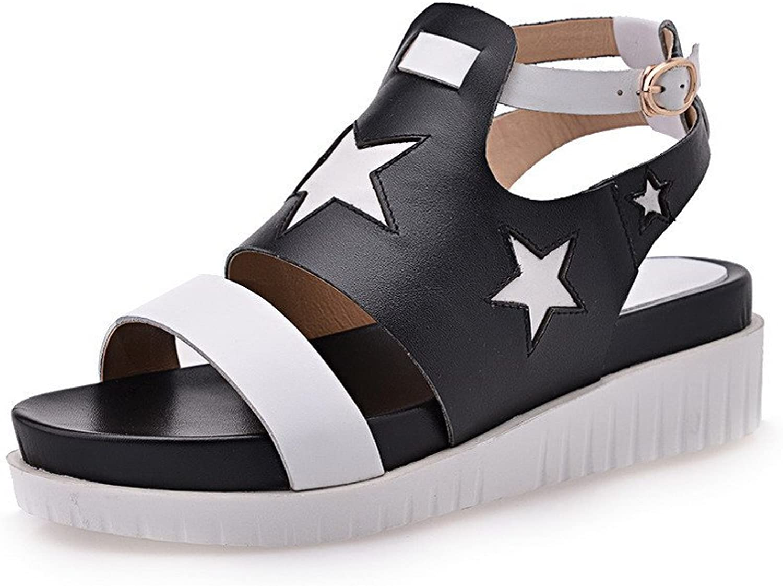 AmoonyFashion Women's Buckle Kitten Heels Cow Leather Solid Open Toe Sandals