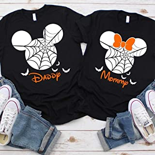 Disney Halloween T-Shirts Personalized Vacation Apparel Shirts for Family Men Women Boys Girls Baby Spiderweb Mickey Minnie Ears Orange Black