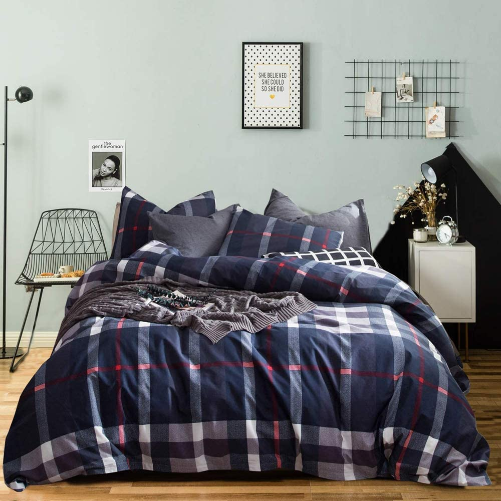 Wellboo Blue Plaid Comforter Sets Buffalo Check Bedding Set Colorful Square Women Men Quilt Adult Cotton Duvet Queen Full Red Striped Blanket Teen Gray Farmhouse Soft Health Durable with 2 Pillowcases