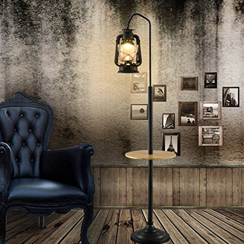 LXJYMXLámpara de pie estándar Lámpara de pie Creativa Europea cafetería lámpara de Queroseno de Hierro Forjado Linterna (Color : B)