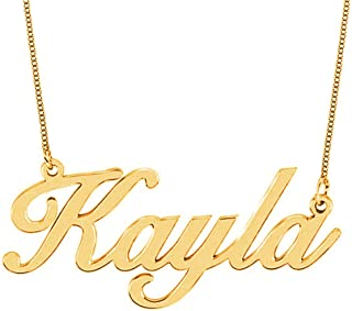 HACOOL 18k Rose Gold Plated Sterling Silver Name Necklace Custom Made with Any Name