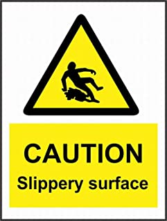 LoMall Caution Slippery Surface Sign 8x12 Safety Danger Notice Warning Road Tin Sign Decor