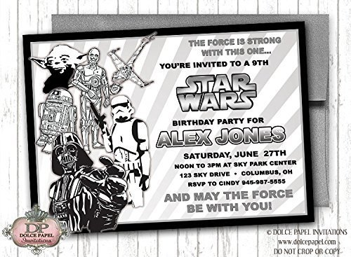 10 STAR WARS Vintage Black and Inexpensive Invi Birthday White Age Any Party Ranking TOP8
