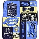Doctor Who Throw Blanket- Tardis - Bow Ties are Cool - Boxes - Micro Fleece 50x60 Afghan Throw