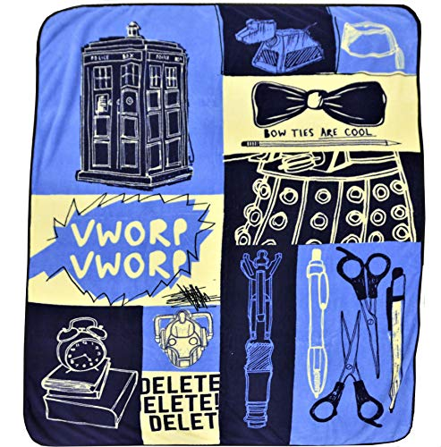 Doctor Who Throw Blanket- Tardis - Bow Ties are Cool - Boxes - Micro Fleece 50x60 Afghan Throw