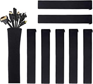 (8 Pack) JOTO Cable Management Sleeve, Cord Management System for TV/Computer/Home Entertainment, 19-20 inch Flexible Cable Sleeve Wrap Cover Organizer -Black