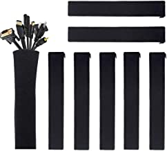 JOTO Cable Management Sleeve, Cord Management System for TV/Computer/Home Entertainment, 19-20 inch Flexible Cable Sleeve Wrap Cover Organizer, 8 Piece -Black