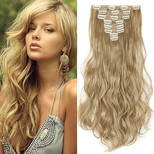 Clip in Extensions wie Echthaar Mittelblond günstig Haarteile 8 Tresssen 18 Clips für komplette Haarverlängerung Gewellt Haar Extensions 17'(43cm)-140g
