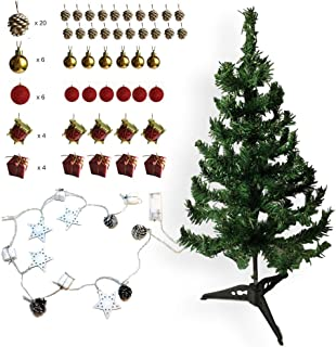 BANBERRY DESIGNS Table Top Chirstmas Tree with Mini Ornaments and Lighted Garland/Strand - 2 Foot Tall Tree with Small Ornaments - Waterproof Balls, Pine Cones, Drums, Stars and Lights - Red and Gold