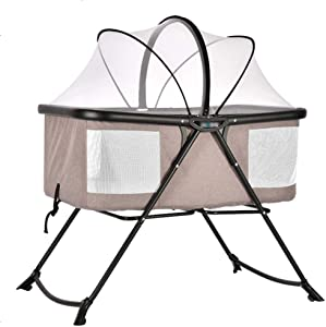 Byx- Crib Newborn Folding Small Multi-function Portable Baby Cradle Bed With Mosquito Net Baby Swinging Bed Can Semi-lying Send Urine Pad Shaped Pillow -Baby rocking chair