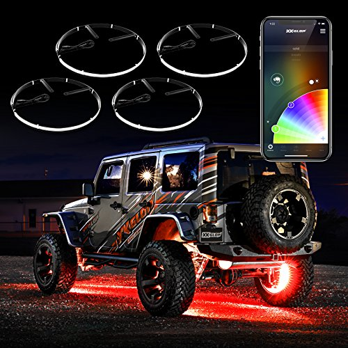 4pc 15' Wheel Ring Light Kit XKchrome App Controlled w/Turn Signal Function Universal Neon Underglow Accent Light Kit