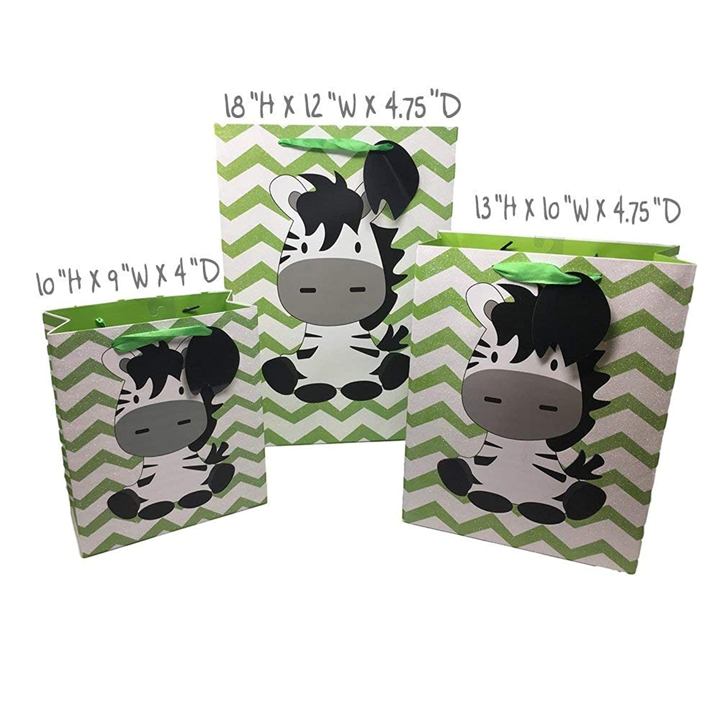 Baby Shower Boy or Girl High Quality Glitter Gift Wrap Bags Printed Inside & Out (3 Pack - Zebra (Green & White) Glitter Bags, Medium 10