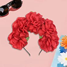 Wawer 🔥 Halloween Kranz Kopfschmuck Frauen Mädchen Simulation Rose Blume Stirnband Kontrastfarbe Flamenco Tänzer Krone Kranz Halloween Party