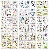 Ouceanwin 48 Blatt Scrapbooking Sticker Selbstklebend, Washi Paper Deko Stickers Reisen Blumen Pflanze Wald Aufkleber für Fotoalbum Notizbuch Kalender Tagebuch Bullet Journal DIY Dekoration